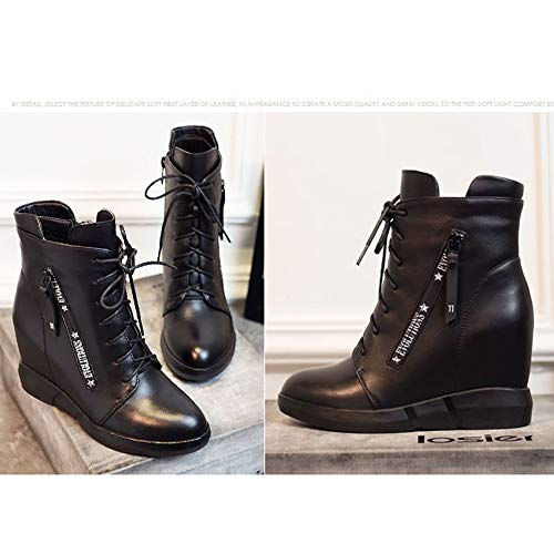 Otoño E Boots 2018 Cuero En Aumento Botas Martin Plano Zapatos Mujer Ywvfx4q