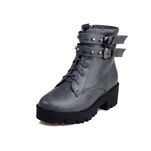 AgooLar Top Gray Low Material Soft Kitten Women's Boots Solid Heels Zipper wxw6BTRA
