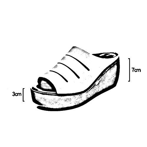 de Fondo tacón Zapatos alto del verano Hembra zapato 7cm grueso Altura CN37 LIXIONG Moda Boca EU37 moda pescado UK4 Porciones colores de Blanco de Tamaño 4 2 talón zapatillas 235 Blanco 5 Color PIRZqP1