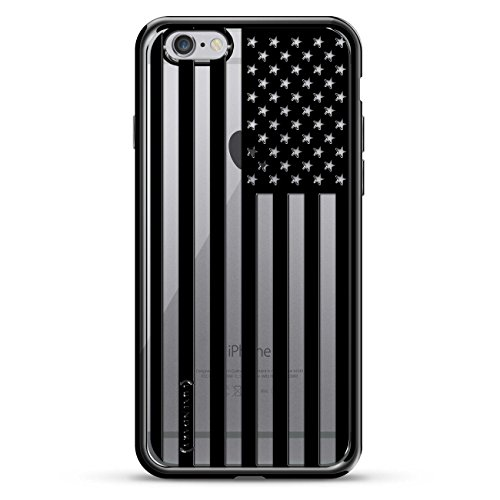 Luxendary B&W USA Flag Design Chrome Series Case for iPhone 6/6S Plus - Titanium Black ()