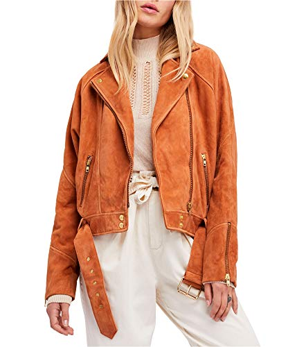 Free People Womens Draped Sue Jacket, Brown, Medium