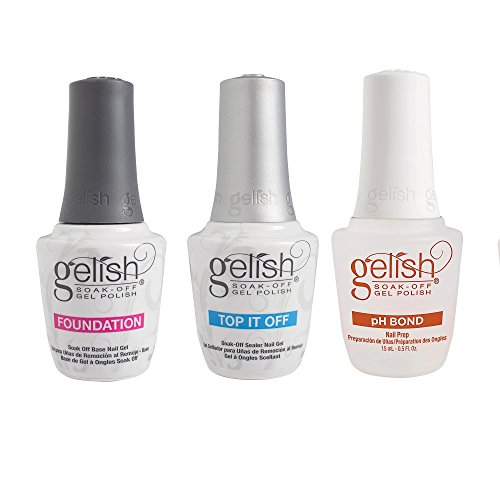 Gelish Gel LED Foundation Base Coat + Top It Off Coat + pH Bond 15 mL Polish Set by Gelish