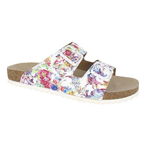 Ströber, Da Pant velour Bedruckt, Pantolette, bianco flower