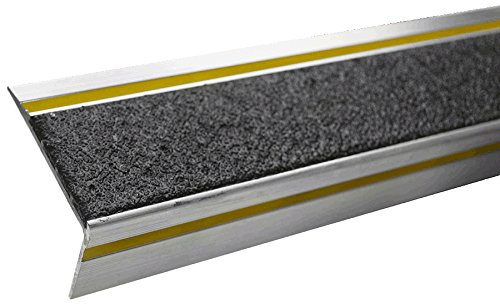 MASTER STOP 425NG10072019R Renovation Stair Tread, Black, reflective stripe, 1'' height, 2.6'' depth, 72'' length, aluminum, mineral abrasive anti-slip surface
