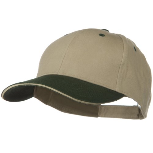 (2 Tone Brushed Twill Sandwich Cap - Dark Green Khaki OSFM)
