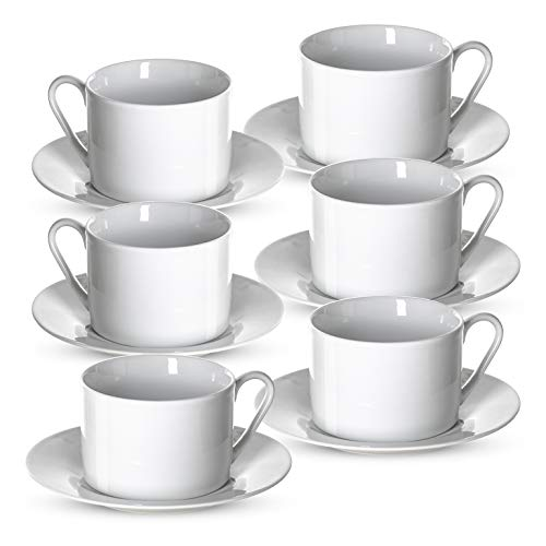 "Klikel Tea Cups and Saucers Set | 6 Piece White Coffee Mug Set | 6"" Plates and 8.5oz Mugs 