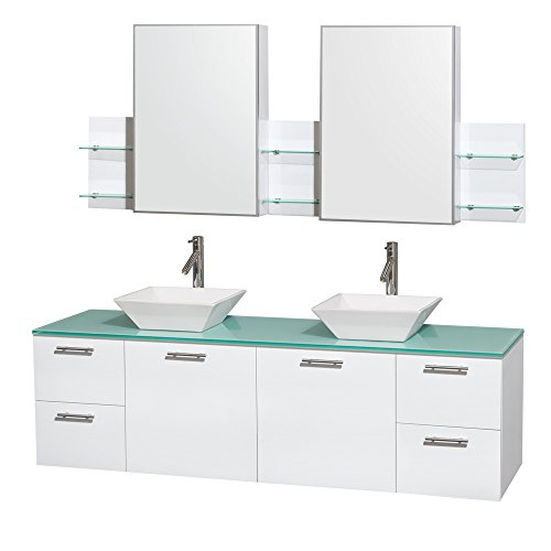 Wyndham Collection Amare 72 inch Double Bathroom Vanity in Glossy White, Green -