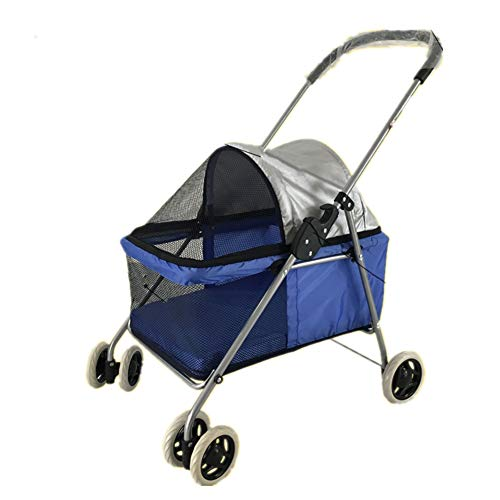 Pet Stroller Jogger Buggy for Dogs Four Rounds Breathable Cat Dog Carrier Trolley Trailer Foldable Outdoor Travel Maximum Weight 15kg ()