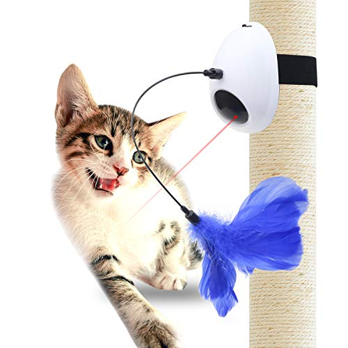 Innovative Alien Hanging Cat Laser Toy - 2 in 1 Automatic Non-Handheld Rotating Light Cat Activity Toy and Interactive Feather Toy for Cats and Dogs (White)