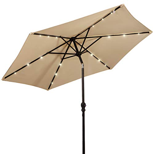 Giantex 9ft Market Patio Umbrella w/Solar Lights, Outdoor Table Umbrella w/Push Button Tilt and Crank, 180G Polyester and Sturdy Ribs, Sun Umbrellas for Market Garden Beach Pool (Beige)