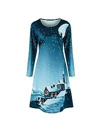 FarJing Christmas Dress, Women Dress Long Sleeve Evening Knee Length Party Dress