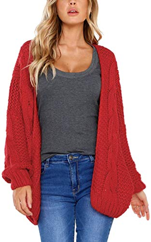 Angashion Women Open Front Long Sleeve Chunky Cable Knit Cardigan Sweater Outwear Coat