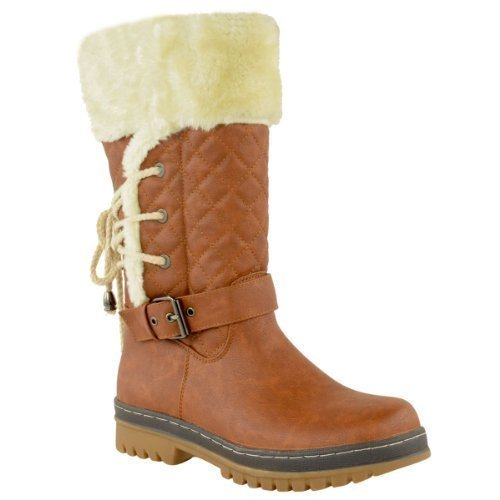 WOMENS LADIES FLAT KNEE HIGH CALF WINTER SNOW FUR LINED ANKLE BOOTS GRIP SOLE SIZE Stylea.tan Brown Faux Leather