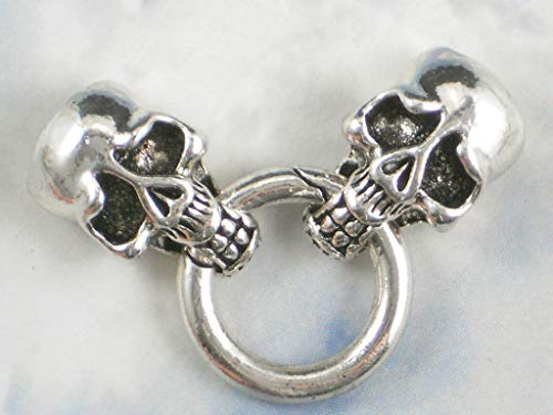 Pendant Jewelry Making Skull Cord End Clasp Ring Closure Silver Tone 4mm 10mm Tube Glue in
