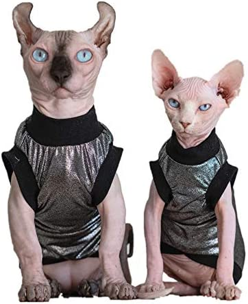 Hairless Cats Clothes, Punk Rock T-Shirt Sleeveless Steampunk Tank Top Vest, Breathable Summer Vest Cat Wear Clothes for Sphynx, Cornish Rex, Devon Rex, Peterbald, Hairless Cats Apparel Assorted Size 23