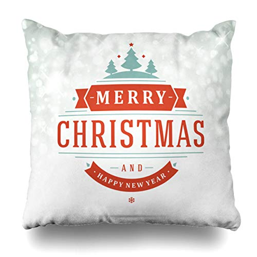 Alricc Christmas Light Greeting Card Invitation and Holidays Wishes Christmas Decorative Throw Pillows Cushion Cover for Bedroom Sofa Living Room 18X18 Inches