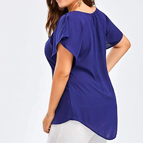 X Dsinvolte Uni Large Shirt Grande lila Blouse Haut Tops Femme Mode Taille Tunique Mousseline Courtes breal V pissure Elgante Dentelle Cou Manches Manche qCSZ71xZwn