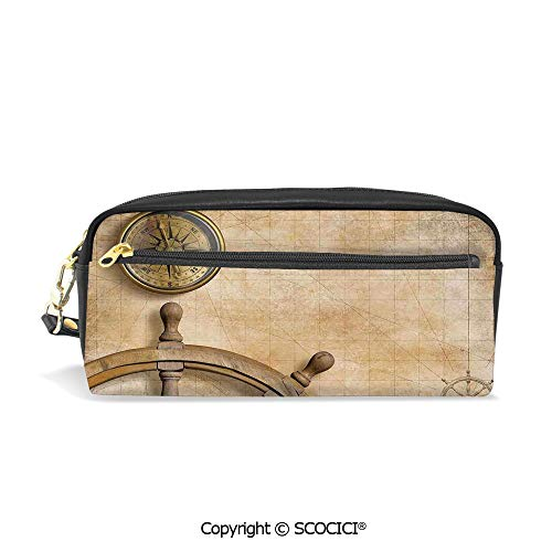- Printed Pencil Case Large Capacity Pen Bag Makeup Bag Steering Wheel and Compass Vintage Map Setting Captains Chamber Finding Treasure Print for School Office Work College Travel
