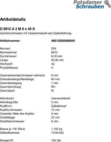 100 Edelstahl V2A Inbus Zylinderschrauben niedrig DIN 6912 A2 M6x12