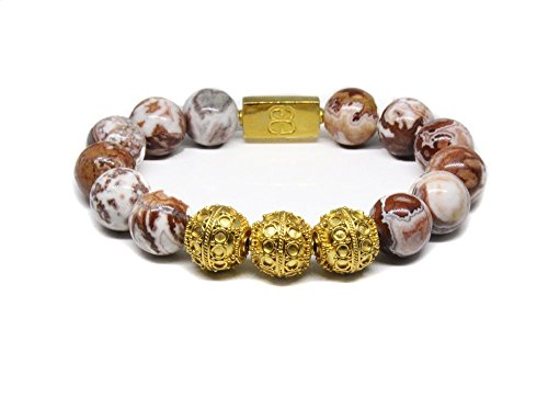 - Mexican Crazy Lace Bracelet, Gold Vermeil Bracelet, Bali Beads Bracelet