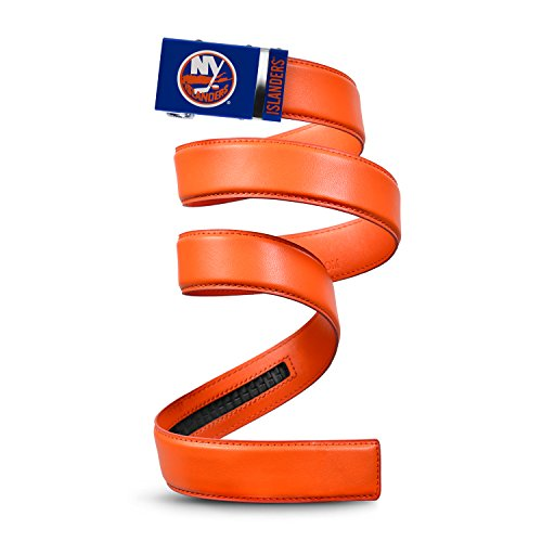 Mission Belt NHL New York Islanders, Orange Leather Ratchet Belt, Extra Large (Up to 42