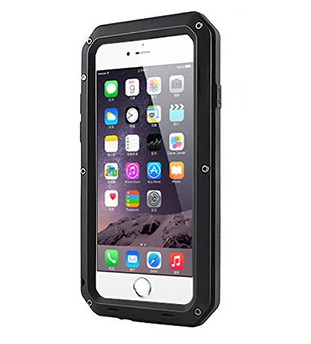 iPhone 6 Plus Case, Shockproof Dustproof Water Resistant iPhone 6S Plus Case Aluminum Alloy Metal Glass Cover Case For Apple iPhone 6 Plus / iPhone 6S Plus 5.5 inch (Black)