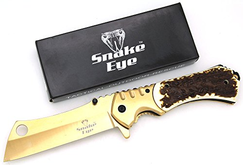 Snake Eye Tactical Heavy Duty Assisted Open Razor Style Folding Pocket Knife Outdoors Camping Hunting Fishing (Bone)