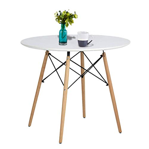 Round Office Pedestal - Gerville Kitchen Dining Table White Round Coffee Table Modern Leisure Wooden Tea Table Office Conference Pedestal Desk(Diameter 80CM, White) (Diameter 31.4inch)