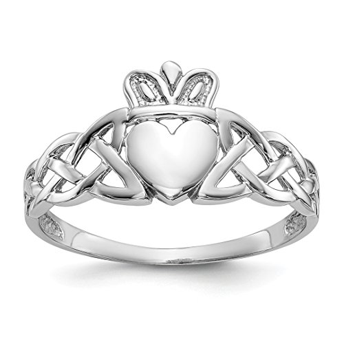 ICE CARATS 14kt White Gold Mens Irish Claddagh Celtic Knot Band Ring Size 9.50 Man Fine Jewelry Dad Mens Gift Set 14kt Gents Claddagh Ring