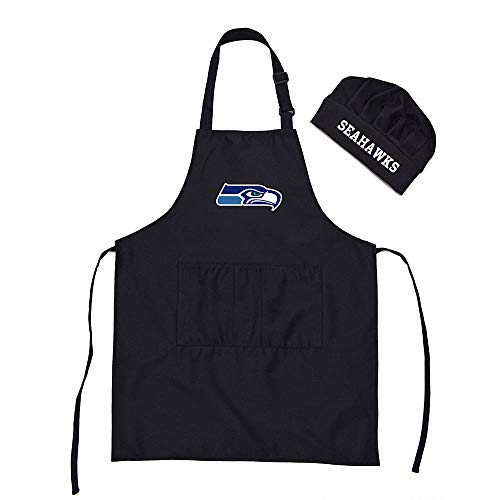 Gloral HIF Seattle Seahawks Chef Hat Apron BBQ Aprons Barbeque Aprons Cook Pinafore with -