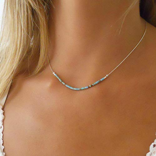 (Handmade Sterling Silver Necklace With Tiny Turquoise Beads)