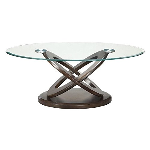 Glass Occasional Coffee Table (Coaster 702788 Occasional Group Oval Coffee Table with Tempered Glass Top and Intersecting Rings Legs in)