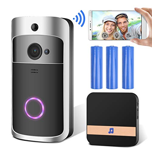 GEMWON Video Doorbell, Smart Wireless Doorbell, Security Home Camera Real-Time Video and Two-Way Talk with Phone Apps, Night Vision, PIR Motion Detection, with Batteries