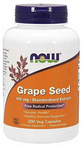 NOW Supplements, Grape Seed 100 mg - Standardized Extract, Highly Concentrated Extract with a Minimum of 90% Polyphenols, with Vitamin C, 200 Veg Capsules (100 Organic Grape Seed Oil)