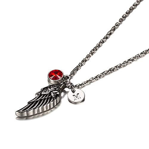 KnSam Jewelry Stainless Steel Urn Pendant Necklace with Angel Wing Pendant, 26 Letters & 12 Birthstones Ashes Pendant Memorial Chain- January M
