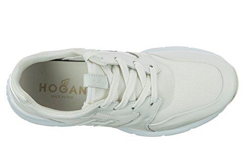 Hogan scarpe sneakers uomo in pelle nuove bianco
