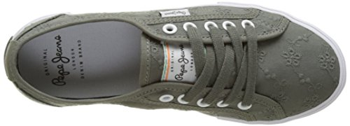 Pepe Jeans Women's Aberlady Anglaise 17 Low-Top Sneakers Grün (Iron) WUgx5iHW