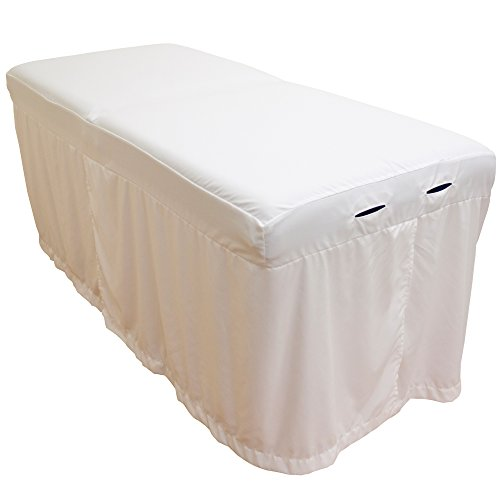 Linen Body White Cream - Lightweight Microfiber Massage Table Skirt by Body Linen - White
