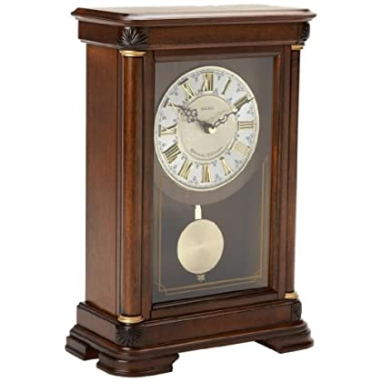 Image of Home and Kitchen Seiko Traditional Elegance Mantel Clock with Pendulum and Chime