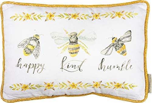 Primitives by Kathy Cotton Throw Pillow, 15 x 10-Inches, Bees – Happy Kind Humble