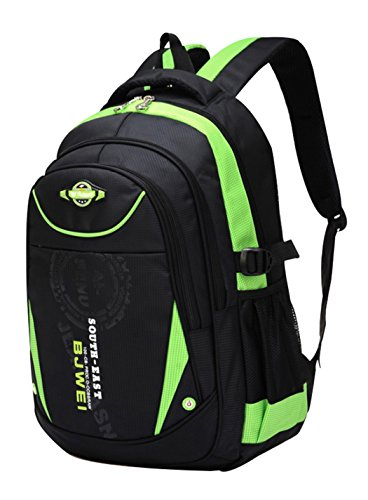 SellerFun Kinder Junge und Mädchen Schulrucksack bzw. Schultasche aus Nylon, Extrem Leicht(Grün)