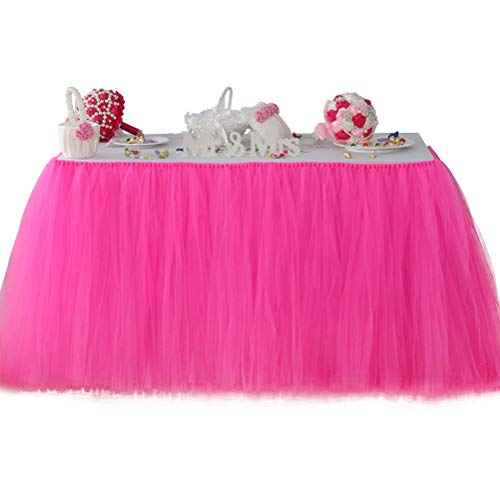 Fit Design Romantic TUTU Table Skirt Tulle Tableware Queen Wonderland Table Cloth Skirting for Girl Princess Party Wedding Christmas Baby Shower Birthday Cake Table Decoration(1Yard,Fuchisa)
