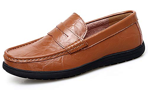 Go Tour Mens Loafers - Italian Dress Casual Loafers for Men - Slip-on Driving Shoes Brown 9.5/44