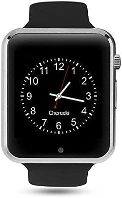 Android Bluetooth Smartwatch [Correa suave], CHEREEKI Reloj de pulsera deportivo con pantalla táctil. soporta tarjetas SIM/tarjetas TF (micro SD), ...
