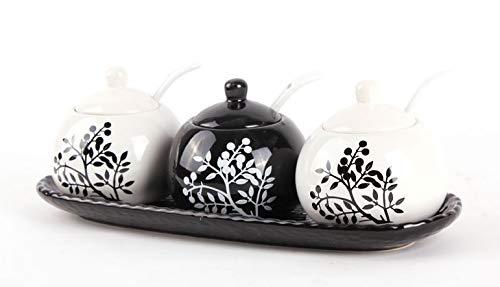 Seba5 Home Tazones de az/úcar de cer/ámica en Blanco y Negro Ollas de condimentos Frascos de Especias Conjunto de Caja de condimentos con Cuchara de Tapa y Juegos de bandejas de 3