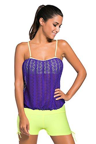 New Purple Lace Overlay Bandeau 2PCS Tankini set bikini Swimsuit Swimwear estivo taglia UK 10EU 38