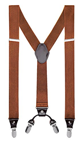 "Buyless Fashion Mens 48'' Elastic Adjustable 1 1/4"" Suspenders In Y Shape – Camel by Buyless Fashion"