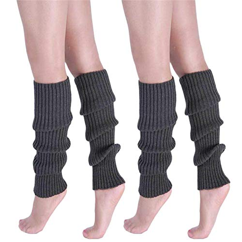 Song Qing Girls Teen 80s Dance Plain Ribbed Women Knit Crochet Long Leg Warmers Fancy Dress