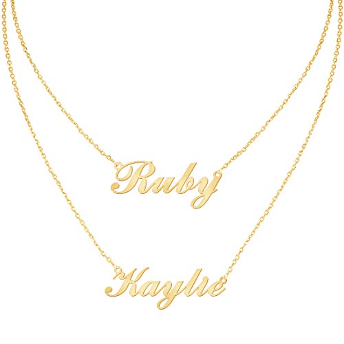 Yoke Style Custom Name Necklace Personalized with Heart, Layered Double Name Customized Necklace Danity Jewelry for Women ()