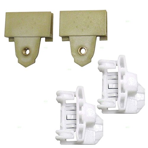 4 Piece Set of Front Passengers Window Regulator Repair Glass Channel Guides with Sash Connector Clips 22689012 22697623